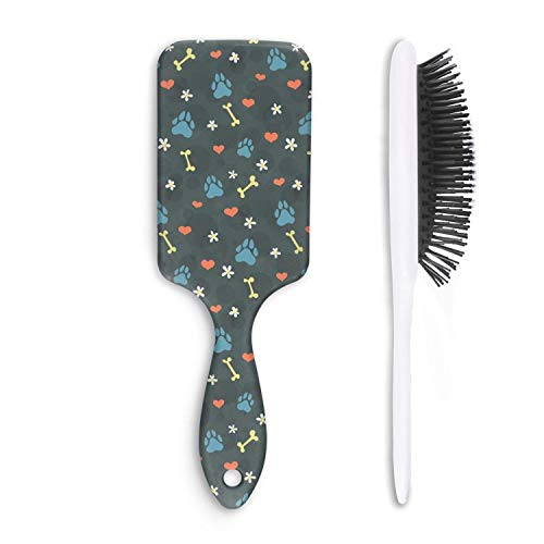 Fashion Soft Hair Brush cute dogs paw and bones - Pain Free - for Women Men Kids Good for Thick Thin Long Short Dry Damaged Curly any hair