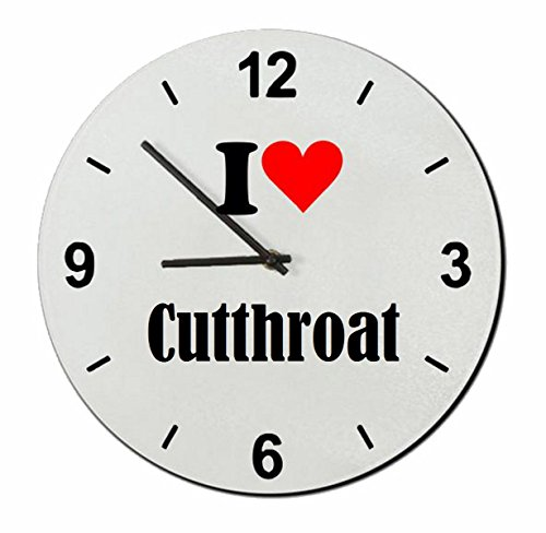 Exclusive Gift Ideas: Glass Watch 'I Love Cutthroat' a Great gift that comes from the Heart- Watch- Ø20 cm- Christmas Gift