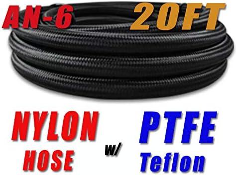 AN6 AN-6 6 AN Black Nylon PTFE Ethanol E85 Fuel Hose Oil Gas Line Price fo 20FT NLPTFEAN6-020