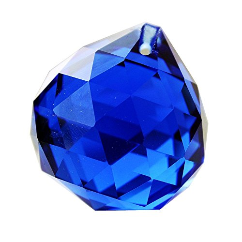 Hongville Fancy Crystal Ball Prisms Pendant Feng Shui Sun Catcher for Holiday Decorating Hanging, 30mm, Dark Blue