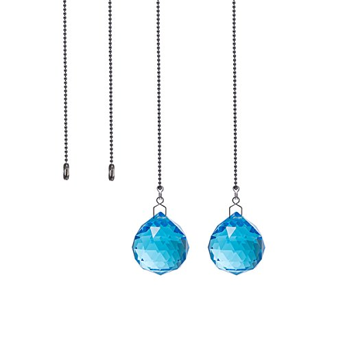 (Crystal Ceiling Fan Pull Chains Pack of 2 40mm Blue Crystal Prism With 2 Free Pull Chain Extension Adjustable Length)