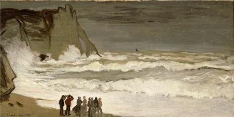 'Rough Sea At Etretat, 1869 By Claude Monet' Oil Painting, 12x24 Inch / 30x61 Cm ,printed On High Quality Polyster Canvas ,this Replica Art DecorativeCanvas Prints Is Perfectly Suitalbe For Bar Gallery Art And Home Artwork And Gifts