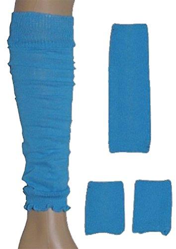 Neon Sweatband/ Headband, 2 Wristbands & Legwarmers Set 1980s Fancy Dress (Neon Blue) by Blue Planet - Planet Online Clothing Blue