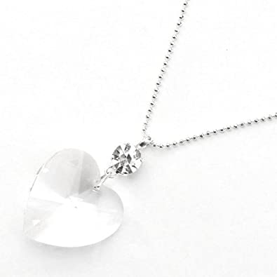Cristal de Swarovski Collier de Forme de Coeur en Argent ...
