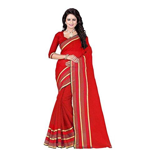 Fashion Printed Printed red Fashion Polycotton Saree HnEwS
