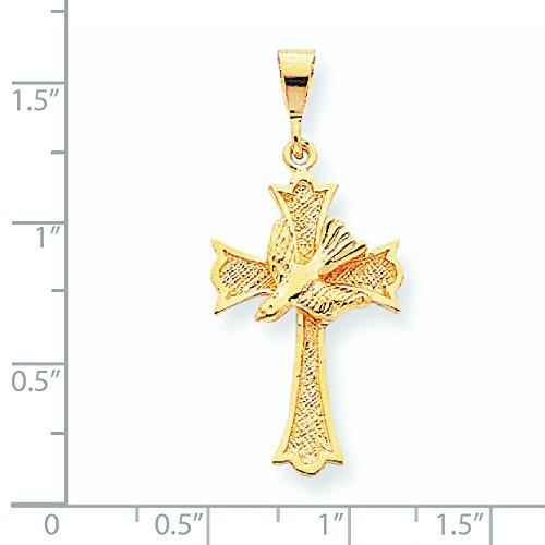 10 K or massif poli avec pendentif fleur de lis au centre de la colombe-de dimension en or 9 carats
