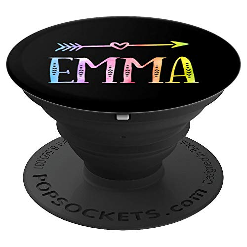 Emma Gift Black Pastel Watercolor Heart Arrow Emma - PopSockets Grip and Stand for Phones and Tablets