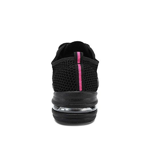 D2c Beauty Womens Lace-up Mesh Moderne Jazz Soft Sole Dance Sport Sneakers Zwart Roze