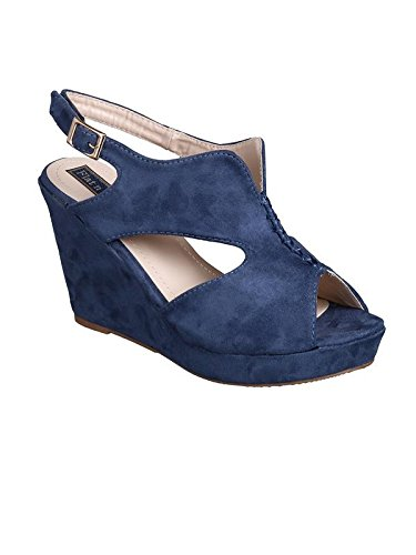 9ad17e437fd Flat n Heels Womens Blue Wedge FnH 958-BLU  Buy Online at Low Prices in  India - Amazon.in
