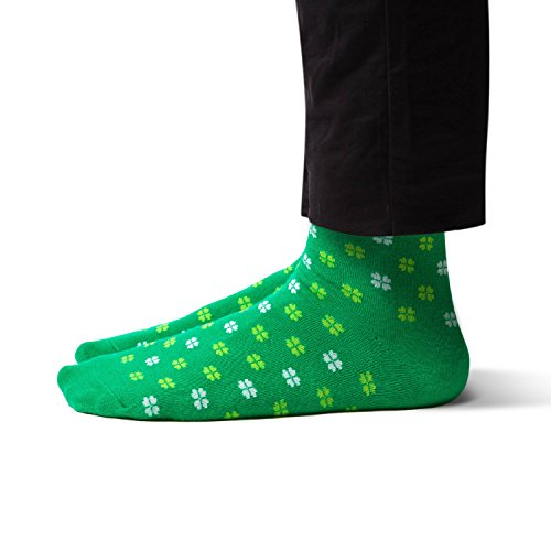 Sheec TrouSox - Reinforced Crew Length Men's Dress Socks - St. Patricks Day Lucky Clover (Regular | 1 Pair) -