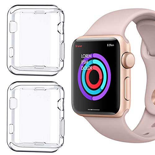 [2 Pack] NSR Compatible Apple Watch Series 1 42mm Case, Soft TPU Screen Protector All-Around Protective 0.3mm HD Clear Ultra-Thin Cover Case for Apple Watch 42mm Series1