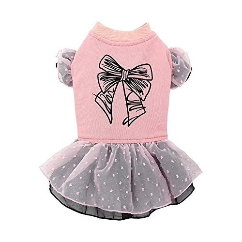 Puppy Face Cute Dog Dresses for Pet Clothes Bowknot Printed Pink Skirt Dog Shirt Apparel Large