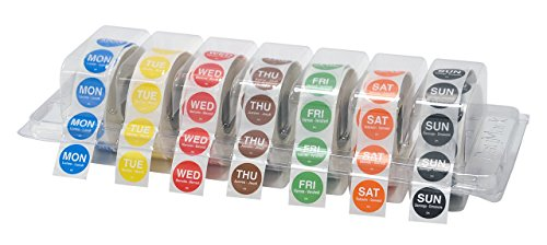 DayMark Day of the Week 3/4'' Circle Permanent Labels, Monday-Sunday, Label Dispenser Included (7,000 labels) by DayMark Safety Systems