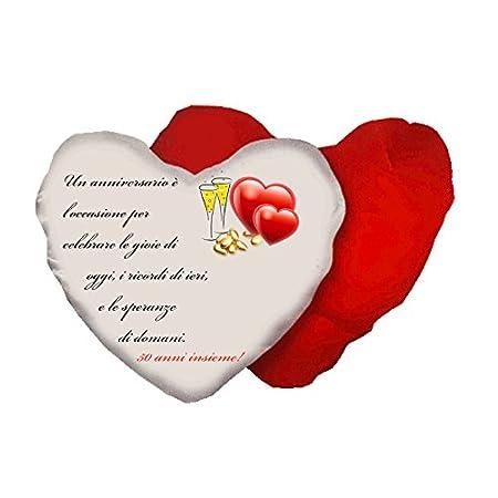 Cuscino A Forma Di Cuore Con Scritta Anniversario Matrimonio