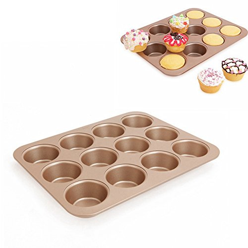 Cup Shaped Non-Stick Carbon Steel Madeleine Pans Mold for Cake Cookie Baking Biscuit Chocolate Handmade Soap Ice Cube Tray ( Pack of 2)