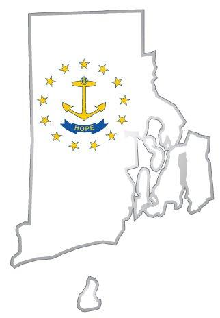(Rhode Island state map flag sticker decal 3