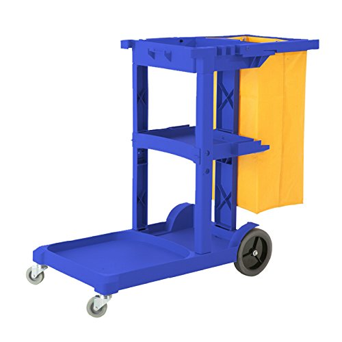 Cart Janitorial (Commercial Housekeeping Janitorial cart with Vinyl Bag AF08170 Blue)