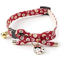 Necoichi Zen Hariko - Collar para Gato, Rojo