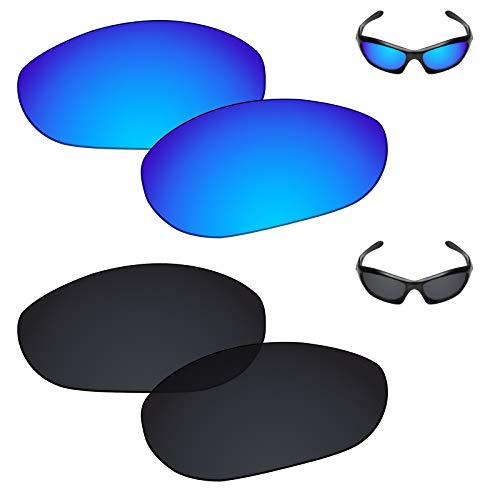 (Galvanic Replacement Lenses for Oakley Monster Dog Sunglasses - Ice + Black Polarized - Combo Pack)