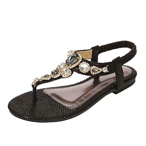 Dream_mimi Ladies Casual Flip-Flops Elastic Band with Rhinestone Beach Shoes Roman Style Casual Shoes Sandals Black