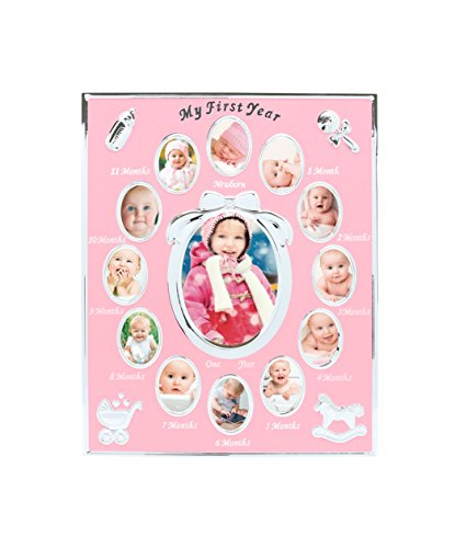 (Tiny Ideas Baby's First Year Keepsake Picture Photo Frame, Silver/Pink)