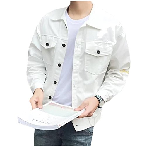 Men Turn Tootlessly Printing Match Denim All Jacket White Collar Pattern down SXHAqdw