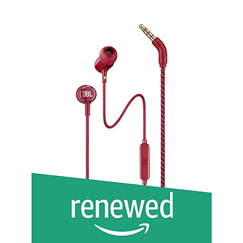 (Renewed) JBL LIVE100 in-Ear Headphones with in-Line Microphone and Remote (Red)