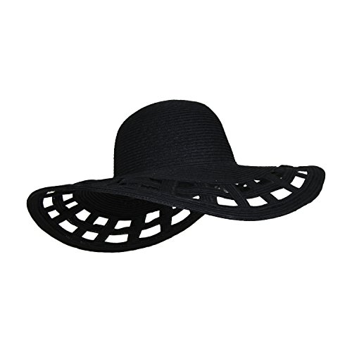 Black Straw Derby Sun Hat w/ Square Cut-outs, Wide Brim Floppy Beach Cap (Out Cut Out)