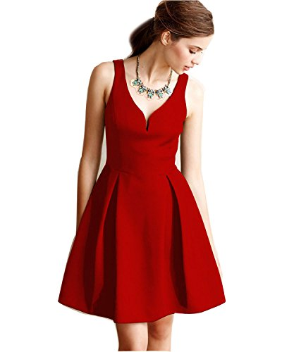 LUOUSE-Womens-1950s-V-Neck-Vintage-Rockabilly-Swing-Dress