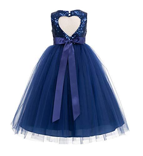 ekidsbridal Heart Cutout Sequin Junior Flower Girl Dress Christening Dresses 172seq 4 Navy