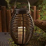 Waterproof Solar Power Lantern Lamp,Rattan Look, Rustic Solar Lanterns,Flameless Candles Lamp,LED Decorative Garden Light Table Top or Hanging(Rugby shaped)