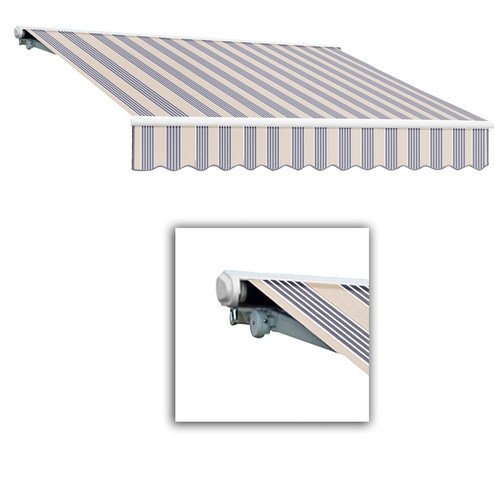 Awntech 20-Feet Galveston Semi-Cassette Right Motor with Remote Retractable Awning, 120-Inch Projection, Dusty Blue Multi