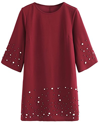Loose Romwe Comfy Summer Women's Pearl Red Tunic Beading Dress 66qZT1xw