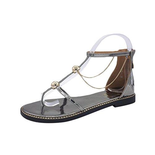 Split Silver Sandals Jitong for Wrap Flat Roman Flops Beach Ladies Shoes Toe Elegant Flip Ankle qX66wg4