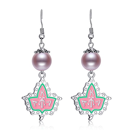 Pink and Green Alpha Kappa Alpha Sorority Letters Pearl Drop Earrings Hypoallergenic Girls Women Valentines-Day Gifts (Valentinesday Gifts For Men)