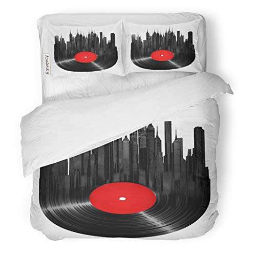 Semtomn Decor Duvet Cover Set Twin Size Record Vinyl City Music Turntable Jazz Building Sound Retro 3 Piece Brushed Microfiber Fabric Print Bedding Set Cover ()