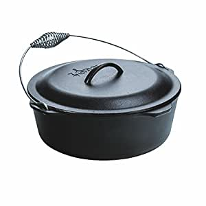 Lodge L12DO3 Cast Iron Dutch Oven with Iron Cover, Pre-Seasoned, 9-Quart, Black