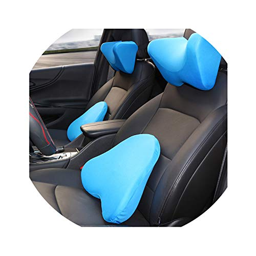 - Vicky-travel-pillows Memory Foam Car Neck Pillow Headrest Cervical Neck Support Cushion Auto Accessories for Universal Cars Audi Quattro Renault Golf,Lightblue Set Pillow