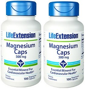 Life Extension Magnesium Vegetarian Capsules, 500 mg, 100 Count ,Pack of 2 ()