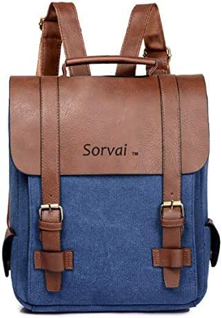 Vintage Waxed Canvas Leather Backpack, Men Women Travel Hiking School Backpack by Sorvai