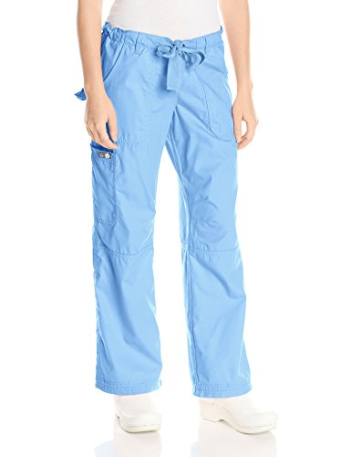 KOI Women's Plus Lindsey Ultra Comfortable Cargo Style Scrub Pants (Petite Sizes), Cornflower, 3X-Large