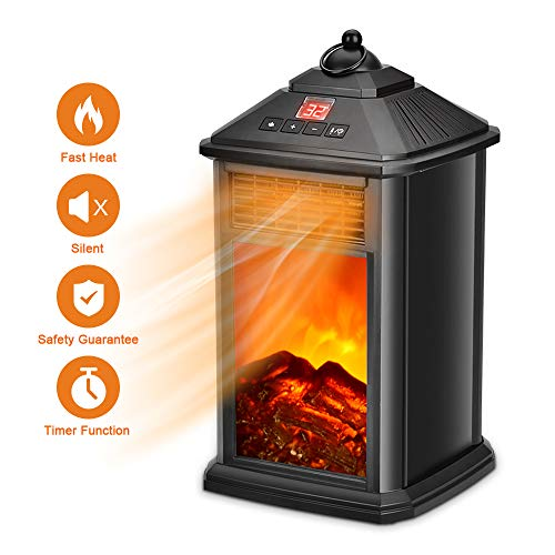 Cheap Portable Fireplace Heater - Space Heater for Office Home Indoor Use Electric Heater 800W with Adjustable Thermostat Ceramic Portable Space Heater with Remote Tip-Over & Overheat Protection Black Friday & Cyber Monday 2019