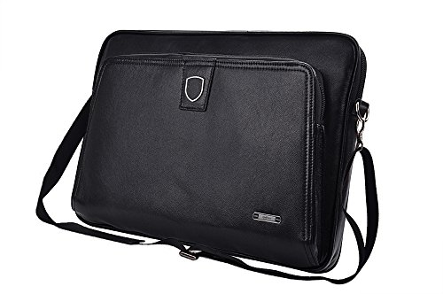 Executive Leather Zip-Close Clutch Case with Shoulder Strap for iPad Pro and 15 inch MacBook Pro,Black by iCarryAlls