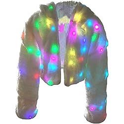 Ohlees® Xmas LED Light Up Shining Christmas Party Women Winter Long Fur Vest Coat Decorative Perform Dance (M, Coat)