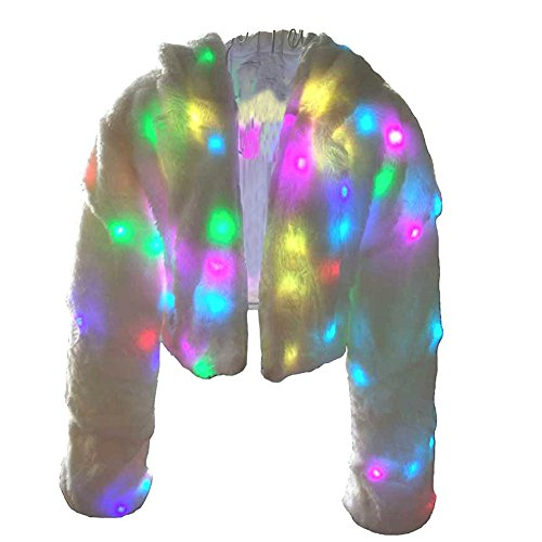 Ohlees® Xmas LED Light Up Shining Christmas Party Women Winter Long Fur Vest Coat Decorative Perform Dance (M, Coat)
