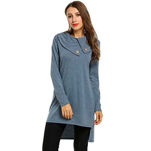 7043d5a8bd2 Meaneor Women s Lapel Neck Long Sleeve Loose Dress Sides Slit Shirt Dress  on sale