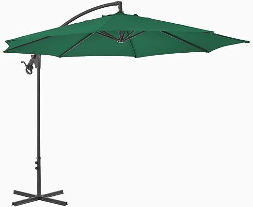 tidyard Sombrilla de Jardín con 8 Varillas Sombrilla Voladiza Garden Parasol Parasol de Jardín para Terraza Jardín Playa Piscina Patio,Poste de Acero,300x260cm Verde: Amazon.es: Hogar
