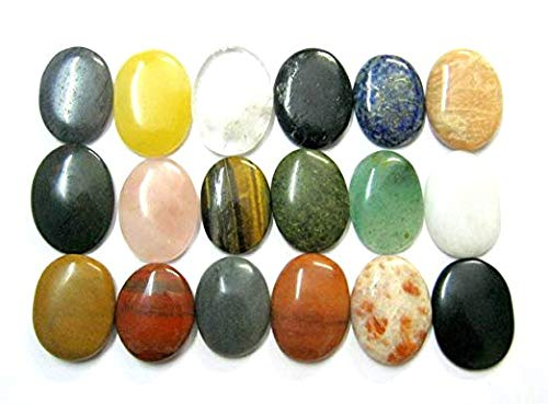 CRYSTALMIRACLE Beautful Set of Sixteen Gemstone Worry Stones Chakra Set Crystal Healing Reiki Gift Metaphysical Thumb Stones Wellness Positive Energy Feng Shui Meditation Protective Health Wealth