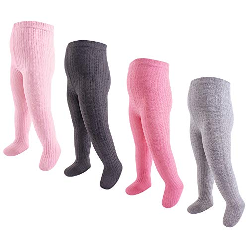 Hudson Baby Baby Girls' Cotton Tights, 4 Pack, Pink Charcoal Cable Knit, -