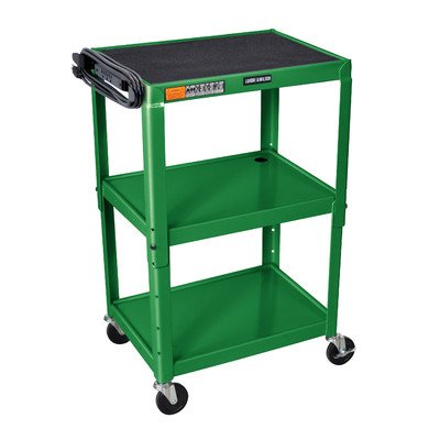 Adjustable Height Open Shelf AV Cart Color: Green Luxor Open Shelf Table